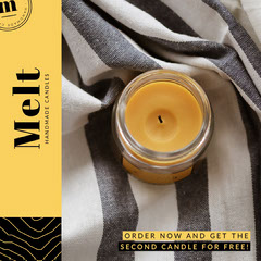 Black and Yellow, Handmade Candle Ad, Instagram Square Bogo