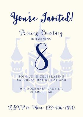 Traditional Blue Castle Princess Invitation Einladung zum Geburtstag