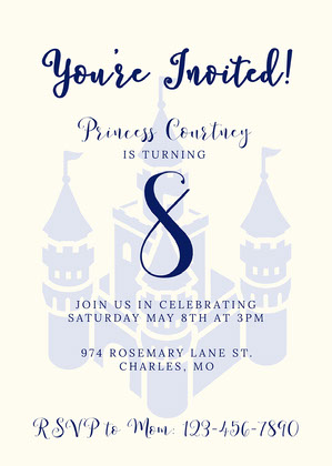 Traditional Blue Castle Princess Invitation Princess Invitation