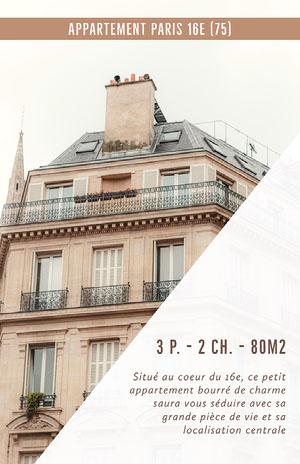 Brown Paris Apartment Building Rental Poster  Prospectus commercial