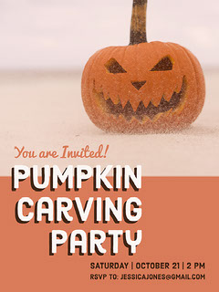 Orange and White Halloween Party Flyer Poster Halloween Party Invitation