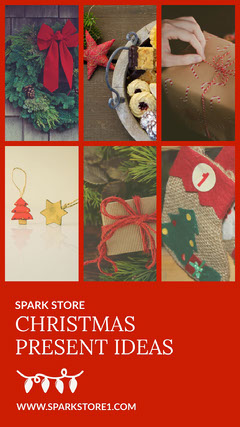 Red Framed Christmas Present Ideas Collage Instagram Story Holiday Sale