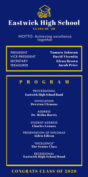 Blue and Yellow Graduation Program  Karte zum Schulabschluss