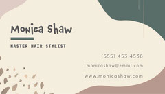 Pale Green Cream and Brown Hair Stylist Business Card  Beauty Salon