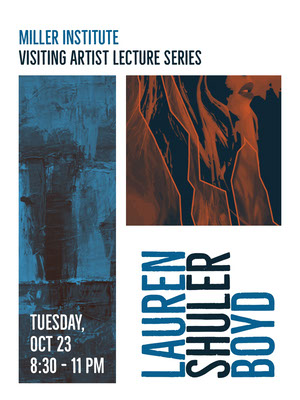 White and Blue Lecture Series Promotion Arts Poster