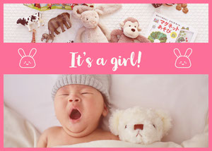 Pink Baby Girl Birth Announcement Card with Baby Photo Aankondiging