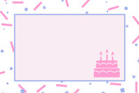Pink Birthday Name Tag with Sprinkles and Cake  誕生日カード