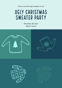 Blue and Black Ugly Christmas Sweater Party Invitation Holiday Party Flyer