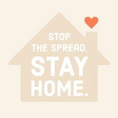 Beige Illustrated Stay Home Coronavirus Instagram Square Sweet Home