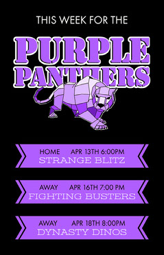 Black And Purple Panther Games Poster  Football