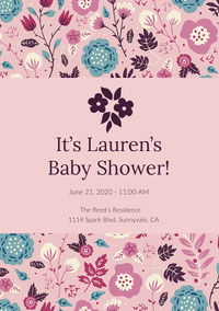 Pink and Flowered Pattern Baby Shower Invitation 誕生会の招待状