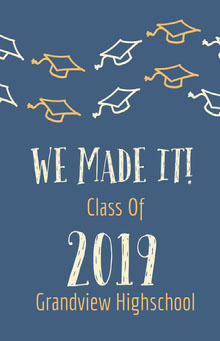 Yellow White and Blue Graduation Poster School Posters