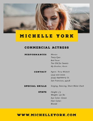 Grey and Yellow Professional Resume Acting Resume