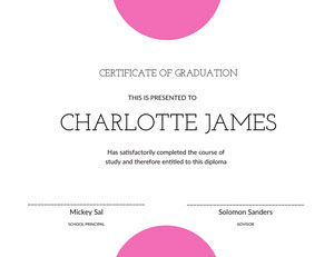 Pink Black And White Graduation Certificate Diplomi