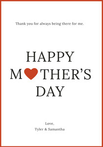 Mothers Day Card with Red Frame and Heart Mother's Day Card