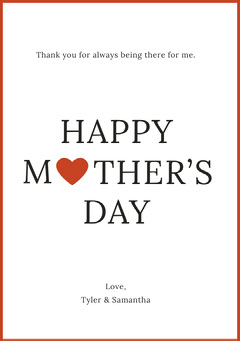 Mothers Day Card with Red Frame and Heart Frame