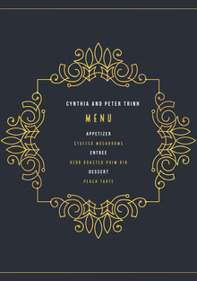 Yellow and Navy Blue Wedding Menu Menu bruiloft