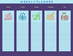 Blue and Violet Weekly Planner Planificateur