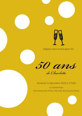 50ans <BR> Invitation d'anniversaire