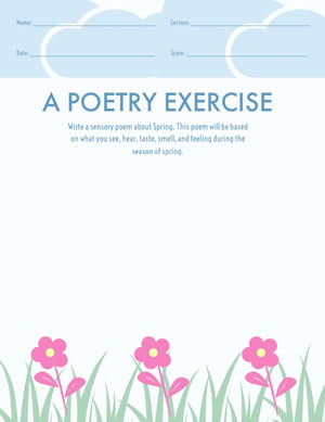 Floral Blue Poetry School Worksheet Työkirja