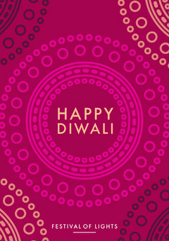 Pink and White Happy Diwali Card Religion