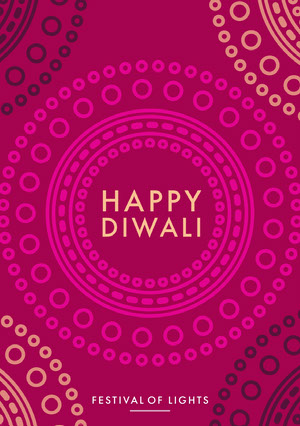Pink and White Happy Diwali Card Diwali