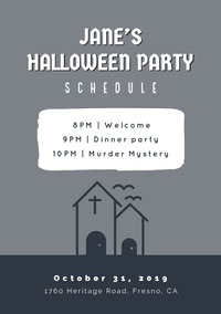 Grey and White Halloween Murder Mystery Party Schedule Festa di Halloween