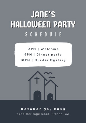 Grey and White Halloween Murder Mystery Party Schedule Halloween Party