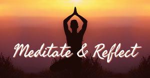 Orange Meditation Facebook Graphic with Person Doing Yoga at Sunset Yoga Posters