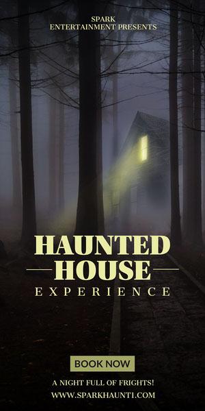 haunted house halloween webad Flyer de anúncio