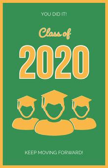 Orange and Green Illustrated Graduation Poster with Students School Posters