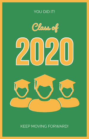 Orange and Green Illustrated Graduation Poster with Students Graduation Poster