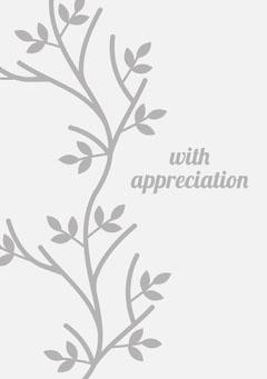 Gray Elegant Floral Sympathy Card Leaf