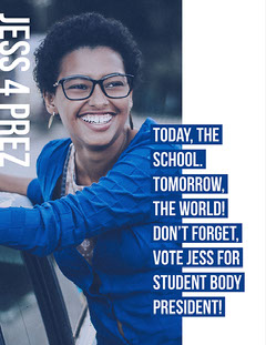 Cold Toned White and Blue Student Body President Poster  Voting