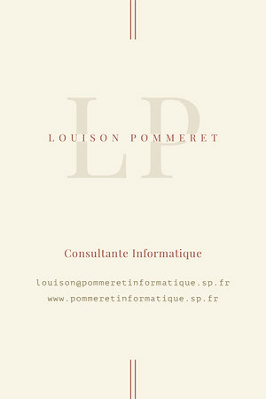Beige and Red Minimal IT Consultant Business Card Carte de visite