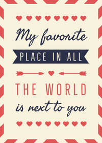 My favourite place Valentine Card messages d'amour