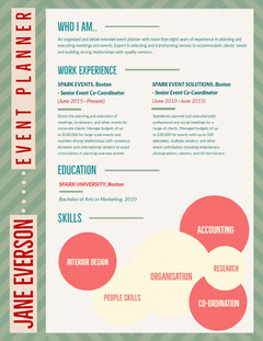 Green and Red Pattern Event Planner Resume Pattern Design