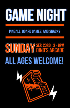 Orange and Black Game Night Poster Game Night Flyer