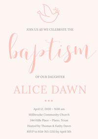 Pink Daughter Baptism Invitation Card  Invito di battesimo