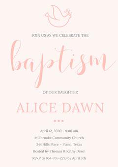 Pink Daughter Baptism Invitation Card  Baptism