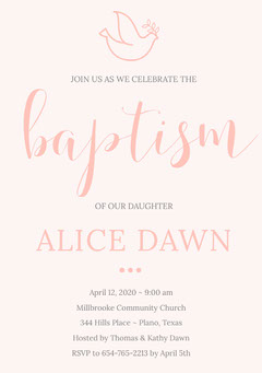 Pink Daughter Baptism Invitation Card  Bird