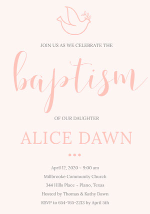 Pink Daughter Baptism Invitation Card  Baptism Place Card