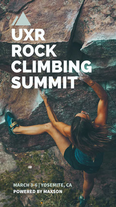 rock climbing ad Instagram story Teal