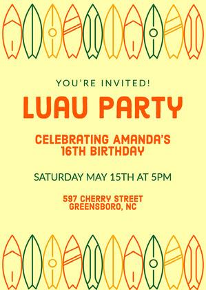 Yellow Hawaiian Birthday Invitation Hawaiian Birthday Invitation