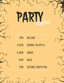 Yellow and Black Spooky Trees Halloween Party Schedule Scary