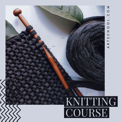 Grey Chevron Knitting Course Instagram Square Educational Course