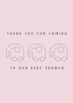 Pink Baby Shower Thank You Card Baby's First Year