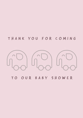 Pink Baby Shower Thank You Card Thank You Card