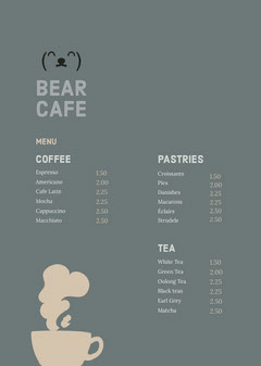 Grey and Beige Cafe Menu Coffee Menu