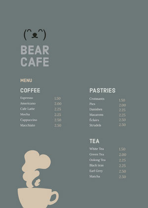 Grey and Beige Cafe Menu Menu